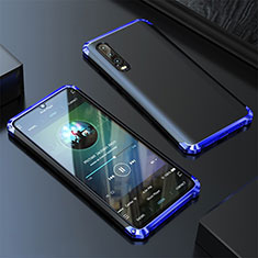 Coque Luxe Aluminum Metal Housse Etui pour Huawei P20 Pro Bleu