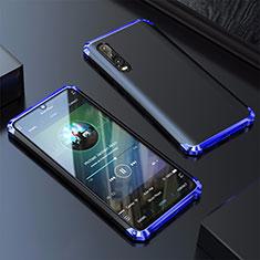 Coque Luxe Aluminum Metal Housse Etui pour Huawei P30 Bleu