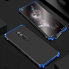 Coque Luxe Aluminum Metal Housse Etui pour Oppo Reno 10X Zoom Bleu