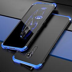 Coque Luxe Aluminum Metal Housse Etui pour Oppo Reno2 Bleu