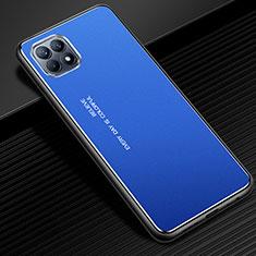 Coque Luxe Aluminum Metal Housse Etui pour Oppo Reno4 SE 5G Bleu