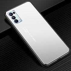 Coque Luxe Aluminum Metal Housse Etui pour Oppo Reno5 Pro 5G Argent