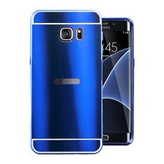 Coque Luxe Aluminum Metal Housse Etui pour Samsung Galaxy S7 Edge G935F Bleu