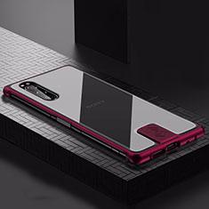Coque Luxe Aluminum Metal Housse Etui pour Sony Xperia 5 Vin Rouge