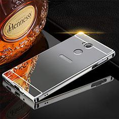 Coque Luxe Aluminum Metal Housse Etui pour Sony Xperia XA2 Gris
