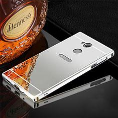 Coque Luxe Aluminum Metal Housse Etui pour Sony Xperia XA2 Plus Argent