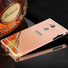 Coque Luxe Aluminum Metal Housse Etui pour Sony Xperia XA2 Plus Or Rose