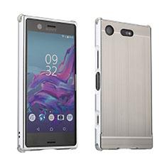 Coque Luxe Aluminum Metal Housse Etui pour Sony Xperia XZ1 Compact Argent
