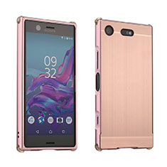 Coque Luxe Aluminum Metal Housse Etui pour Sony Xperia XZ1 Compact Or Rose