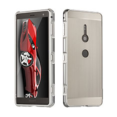 Coque Luxe Aluminum Metal Housse Etui pour Sony Xperia XZ2 Argent