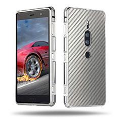 Coque Luxe Aluminum Metal Housse Etui pour Sony Xperia XZ2 Premium Argent