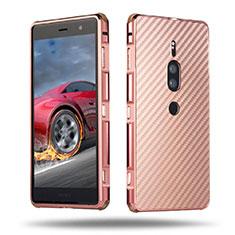 Coque Luxe Aluminum Metal Housse Etui pour Sony Xperia XZ2 Premium Or Rose