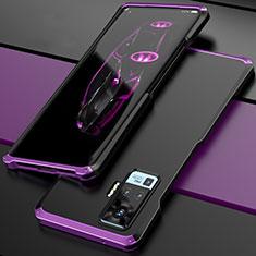 Coque Luxe Aluminum Metal Housse Etui pour Vivo X50 Pro 5G Violet