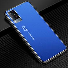 Coque Luxe Aluminum Metal Housse Etui pour Vivo X60 5G Bleu