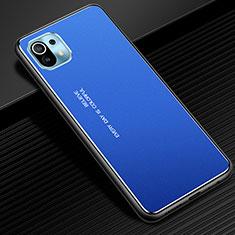 Coque Luxe Aluminum Metal Housse Etui pour Xiaomi Mi 11 5G Bleu