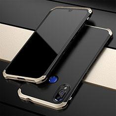Coque Luxe Aluminum Metal Housse Etui pour Xiaomi Redmi Note 7 Pro Or et Noir