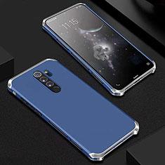Coque Luxe Aluminum Metal Housse Etui pour Xiaomi Redmi Note 8 Pro Bleu