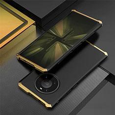 Coque Luxe Aluminum Metal Housse Etui T01 pour Huawei Mate 40 Pro Or et Noir