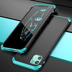 Coque Luxe Aluminum Metal Housse Etui T02 pour Apple iPhone 11 Cyan