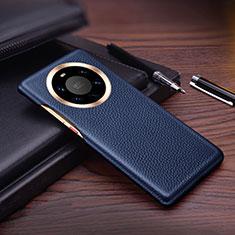 Coque Luxe Cuir Housse Etui L01 pour Huawei Mate 40 Pro+ Plus Bleu