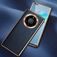 Coque Luxe Cuir Housse Etui L02 pour Huawei Mate 40 Pro+ Plus Bleu