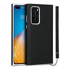 Coque Luxe Cuir Housse Etui N01 pour Huawei P40 Noir