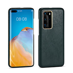 Coque Luxe Cuir Housse Etui N04 pour Huawei P40 Pro Vert Nuit