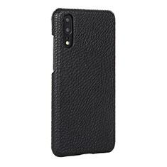 Coque Luxe Cuir Housse Etui P01 pour Huawei P20 Noir