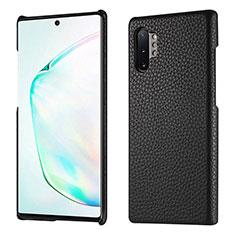Coque Luxe Cuir Housse Etui P01 pour Samsung Galaxy Note 10 Plus Noir