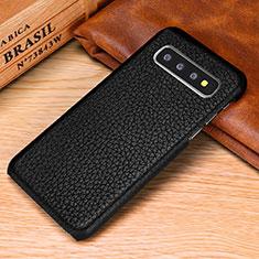 Coque Luxe Cuir Housse Etui P01 pour Samsung Galaxy S10 Noir