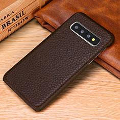 Coque Luxe Cuir Housse Etui P01 pour Samsung Galaxy S10e Marron