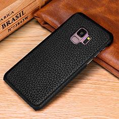 Coque Luxe Cuir Housse Etui P01 pour Samsung Galaxy S9 Noir
