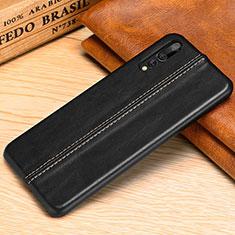 Coque Luxe Cuir Housse Etui P02 pour Huawei P20 Pro Noir