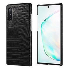 Coque Luxe Cuir Housse Etui P02 pour Samsung Galaxy Note 10 Plus 5G Noir