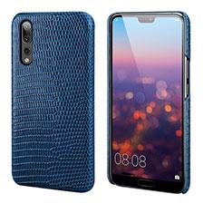 Coque Luxe Cuir Housse Etui P03 pour Huawei P20 Pro Bleu