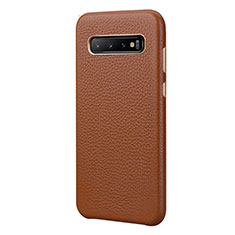 Coque Luxe Cuir Housse Etui P03 pour Samsung Galaxy S10 Plus Marron