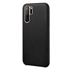 Coque Luxe Cuir Housse Etui P04 pour Huawei P30 Pro Noir