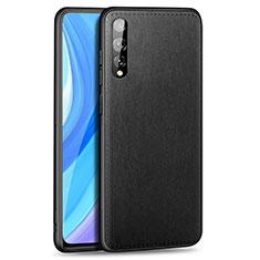 Coque Luxe Cuir Housse Etui pour Huawei Enjoy 10S Noir