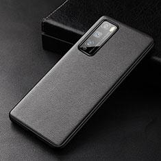 Coque Luxe Cuir Housse Etui pour Huawei Enjoy 20 Pro 5G Noir