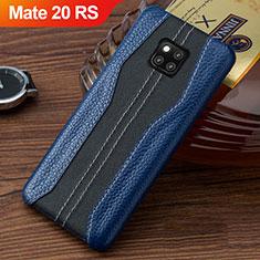 Coque Luxe Cuir Housse Etui pour Huawei Mate 20 RS Bleu et Noir