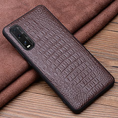 Coque Luxe Cuir Housse Etui pour Oppo Find X2 Marron