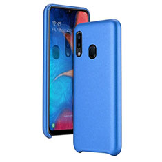 Coque Luxe Cuir Housse Etui pour Samsung Galaxy A20e Bleu