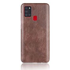 Coque Luxe Cuir Housse Etui pour Samsung Galaxy A21s Marron
