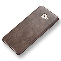 Coque Luxe Cuir Housse Etui pour Samsung Galaxy C7 Pro C7010 Marron