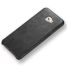 Coque Luxe Cuir Housse Etui pour Samsung Galaxy C7 Pro C7010 Noir