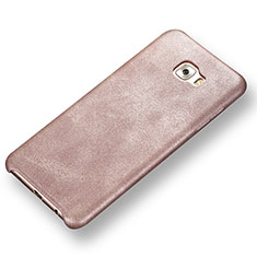 Coque Luxe Cuir Housse Etui pour Samsung Galaxy C7 Pro C7010 Or Rose