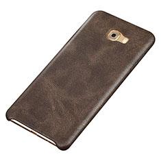 Coque Luxe Cuir Housse Etui pour Samsung Galaxy C9 Pro C9000 Marron