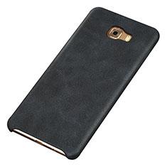 Coque Luxe Cuir Housse Etui pour Samsung Galaxy C9 Pro C9000 Noir