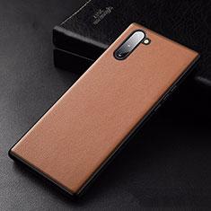 Coque Luxe Cuir Housse Etui pour Samsung Galaxy Note 10 Orange