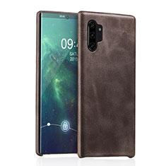 Coque Luxe Cuir Housse Etui pour Samsung Galaxy Note 10 Plus 5G Marron